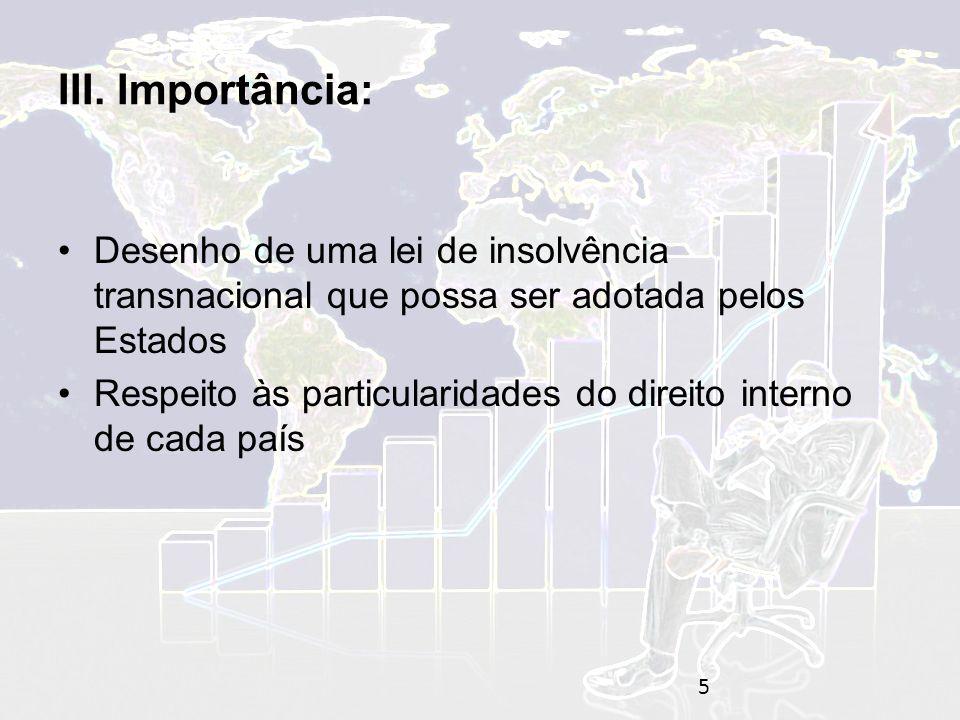 III. Importância: Desenho de uma lei de insolvência transnacional que possa ser adotada pelos Estados.