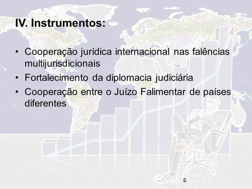 IV. Instrumentos: Cooperação jurídica internacional nas falências multijurisdicionais. Fortalecimento da diplomacia judiciária.