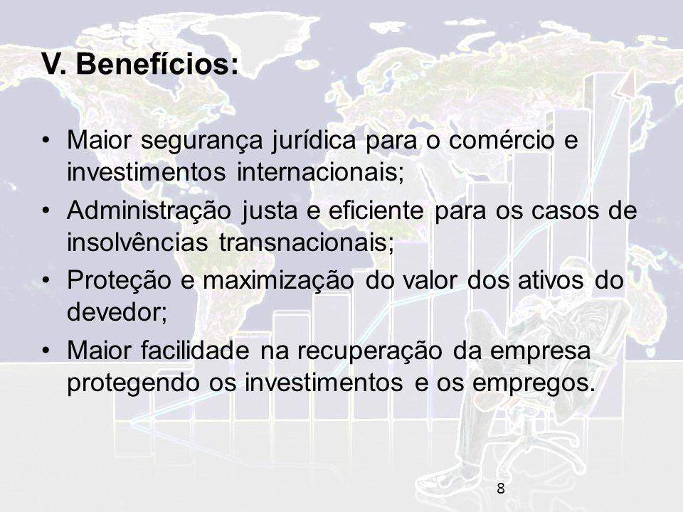 V. Benefícios: Maior segurança jurídica para o comércio e investimentos internacionais;