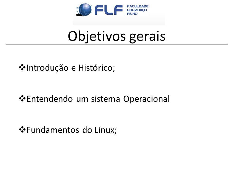Objetivos gerais Introdução e Histórico;