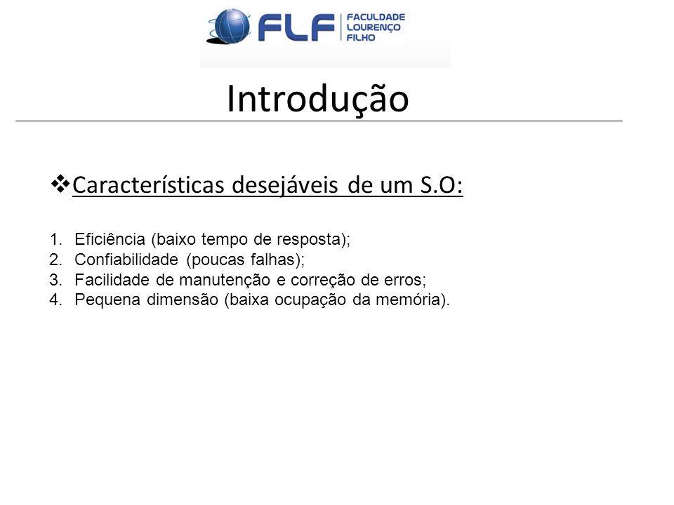 Introdução Características desejáveis de um S.O: