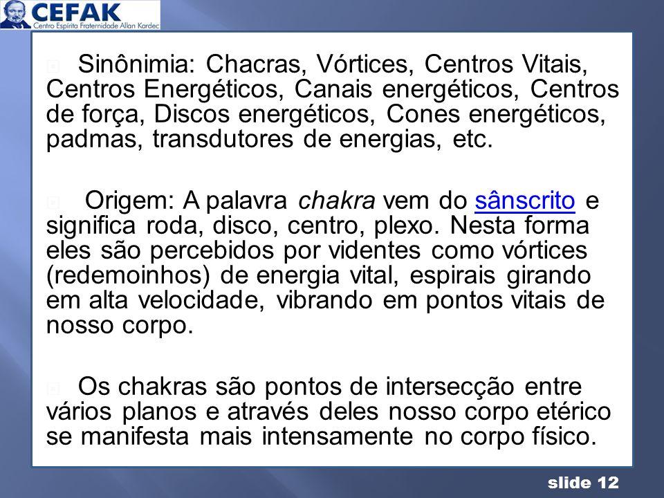 Sinônimia: Chacras, Vórtices, Centros Vitais, Centros Energéticos, Canais energéticos, Centros de força, Discos energéticos, Cones energéticos, padmas, transdutores de energias, etc.