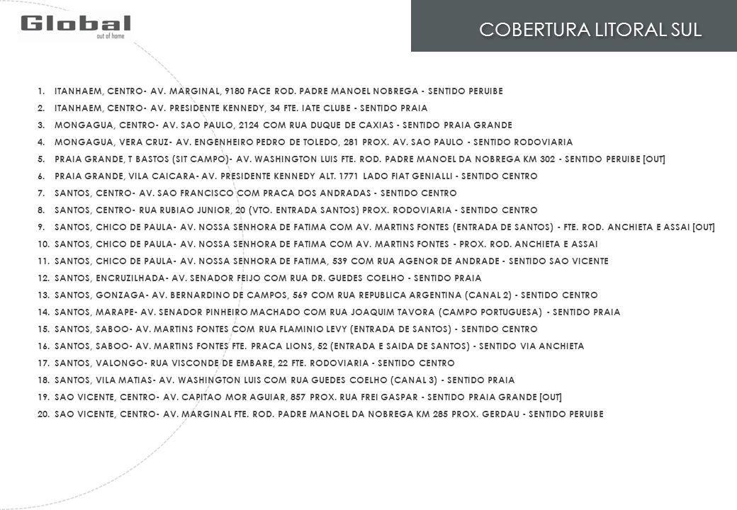 COBERTURA LITORAL SUL ITANHAEM, CENTRO- AV. MARGINAL, 9180 FACE ROD. PADRE MANOEL NOBREGA - SENTIDO PERUIBE.