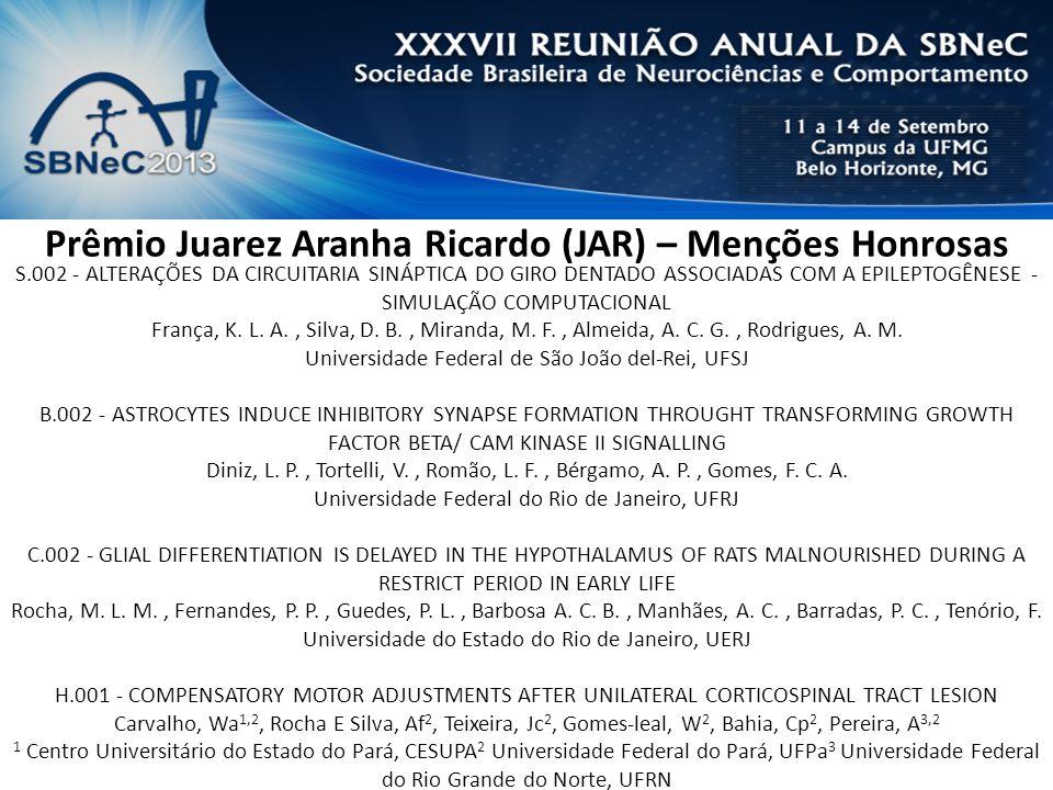 Prêmio Juarez Aranha Ricardo (JAR) – Menções Honrosas