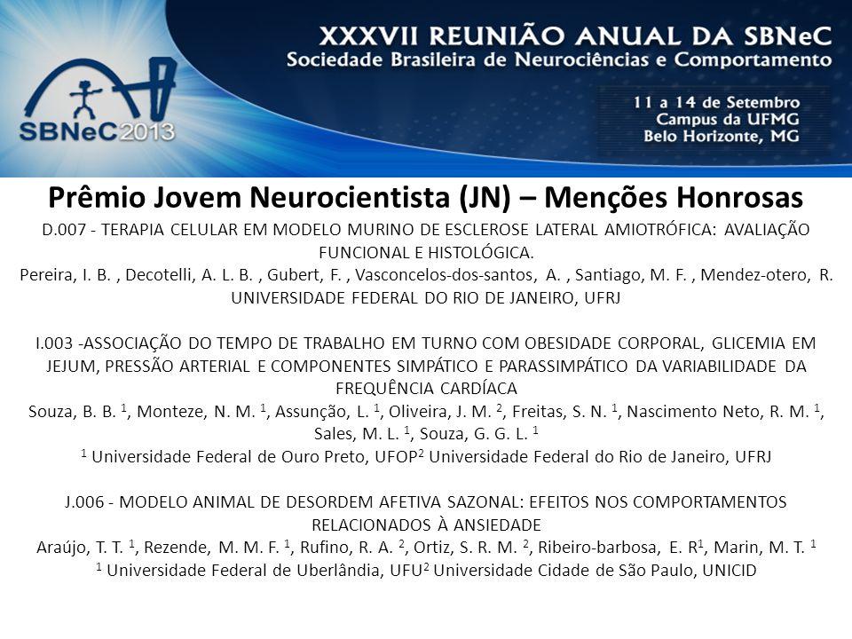 Prêmio Jovem Neurocientista (JN) – Menções Honrosas