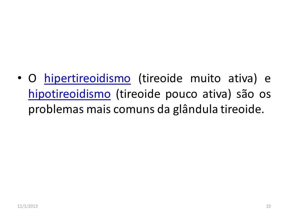 O hipertireoidismo (tireoide muito ativa) e hipotireoidismo (tireoide pouco ativa) são os problemas mais comuns da glândula tireoide.