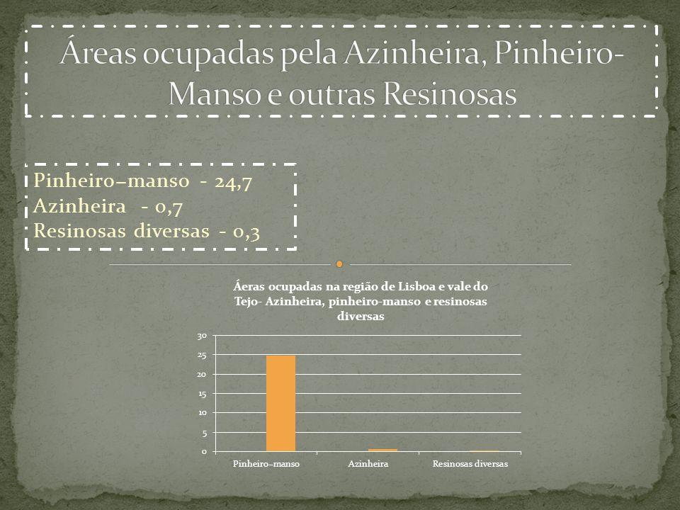 Áreas ocupadas pela Azinheira, Pinheiro-Manso e outras Resinosas