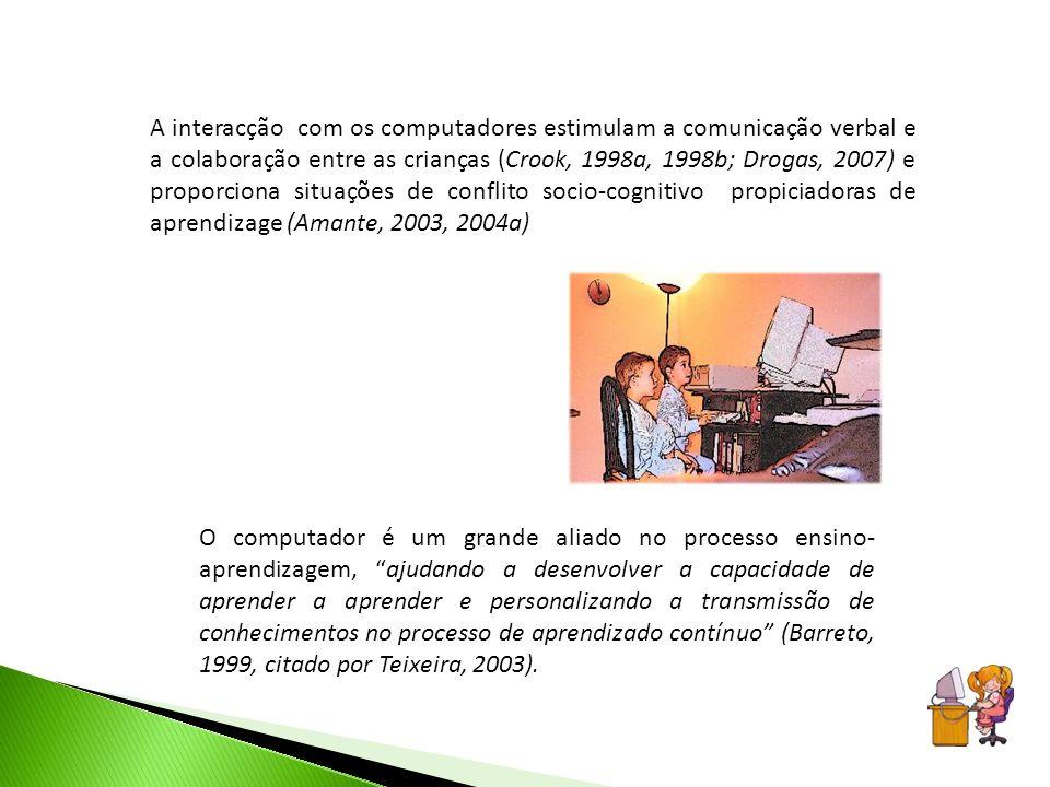 A interacção com os computadores estimulam a comunicação verbal e a colaboração entre as crianças (Crook, 1998a, 1998b; Drogas, 2007) e proporciona situações de conflito socio-cognitivo propiciadoras de aprendizage (Amante, 2003, 2004a)