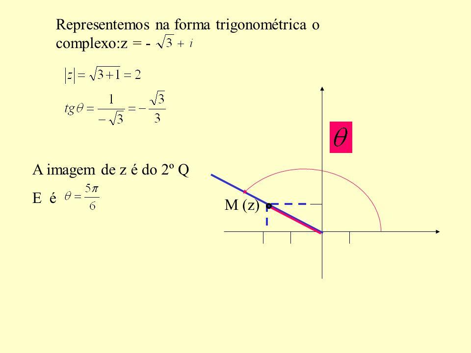 Representemos na forma trigonométrica o complexo:z = -