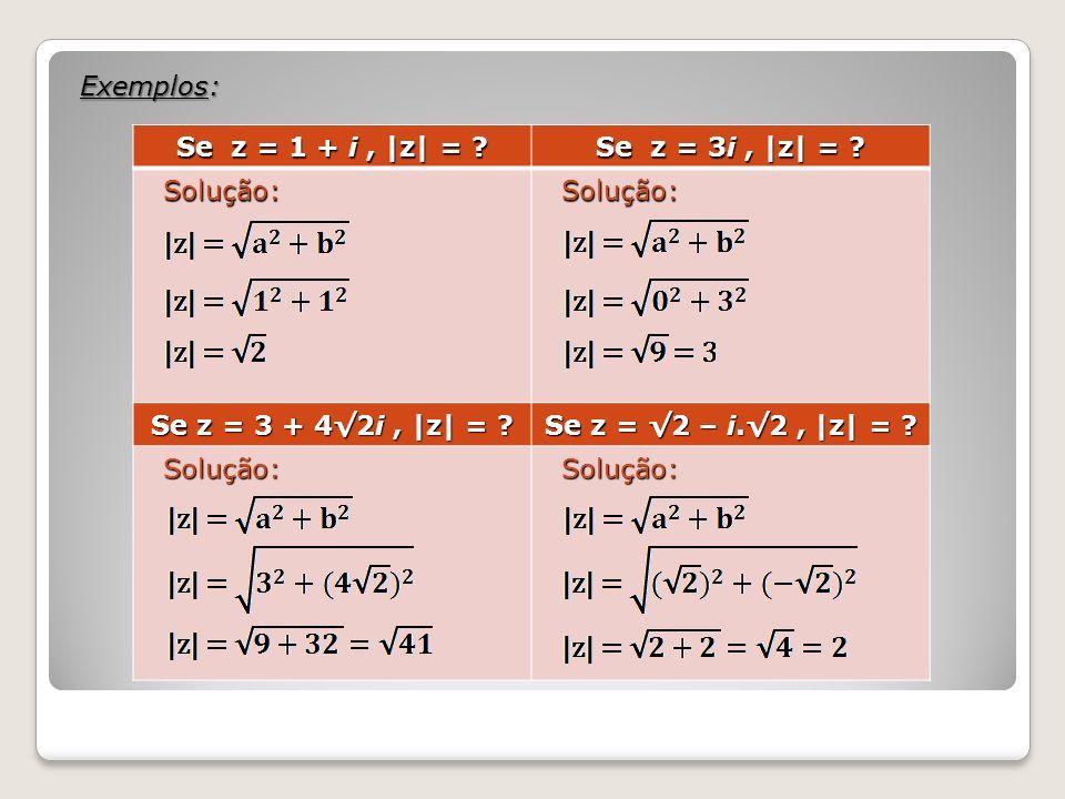 Exemplos: Se z = 1 + i , |z| = . Se z = 3i , |z| = .