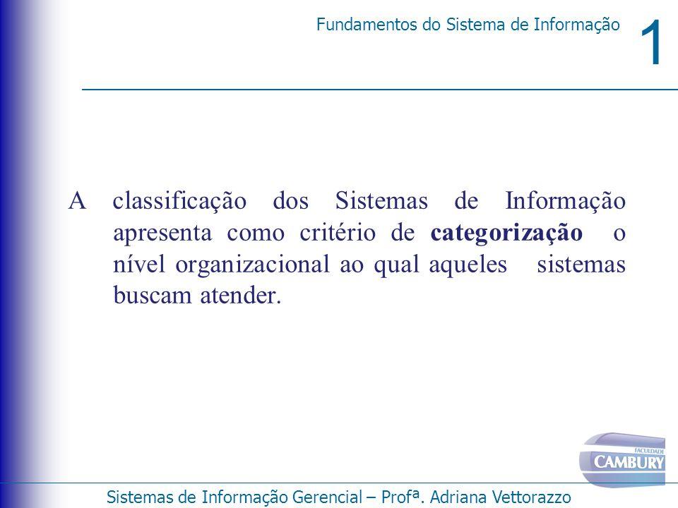 A classificação dos Sistemas de Informação apresenta como critério de categorização o nível organizacional ao qual aqueles sistemas buscam atender.