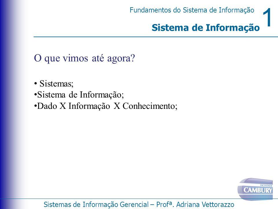 O que vimos até agora Sistema de Informação Sistemas;