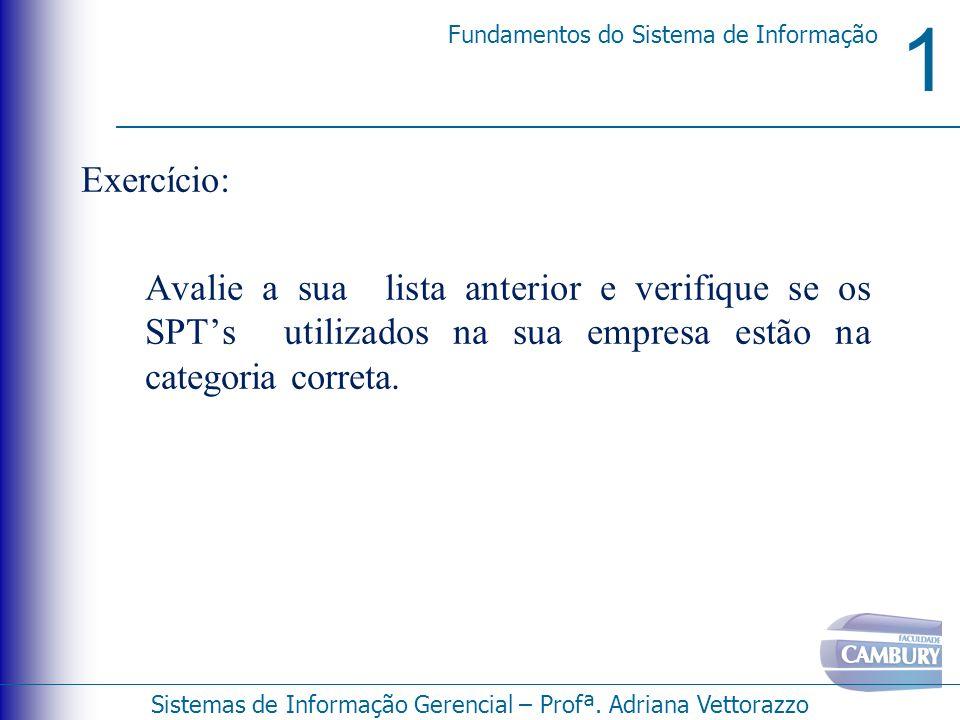 Exercício: Avalie a sua lista anterior e verifique se os SPT's utilizados na sua empresa estão na categoria correta.