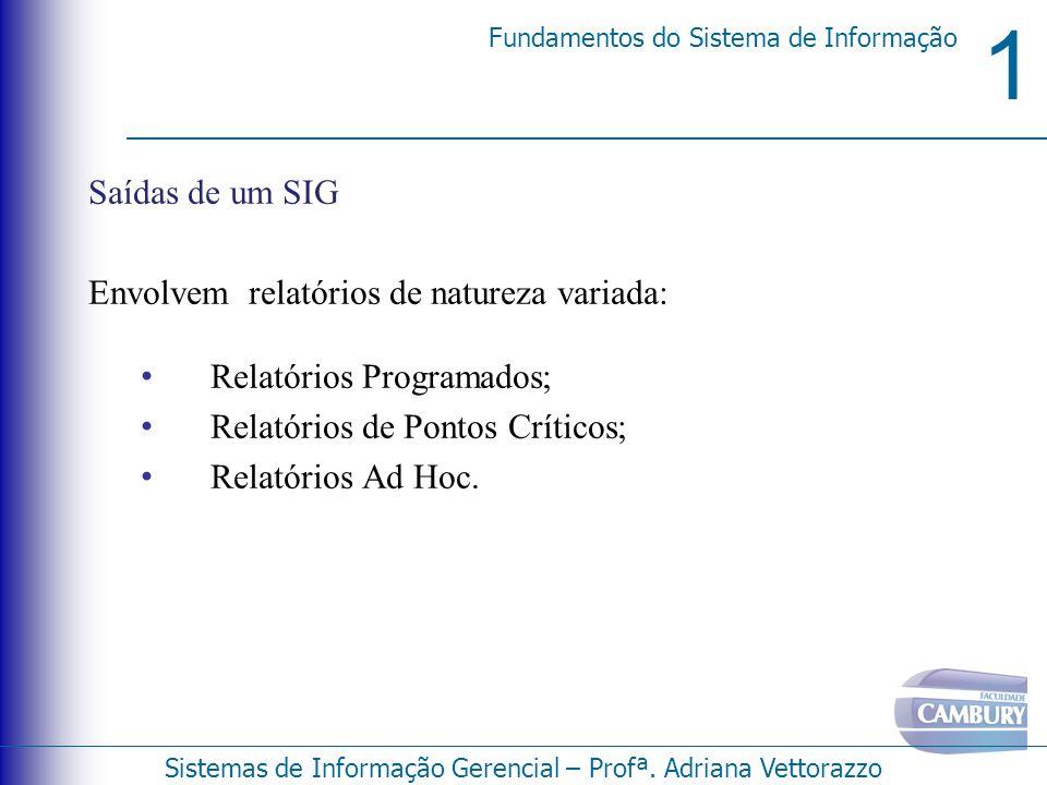 Saídas de um SIG Envolvem relatórios de natureza variada: Relatórios Programados; Relatórios de Pontos Críticos;