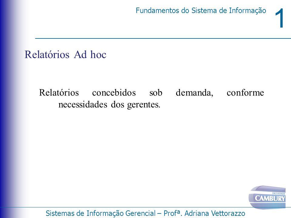 Relatórios Ad hoc Relatórios concebidos sob demanda, conforme necessidades dos gerentes.