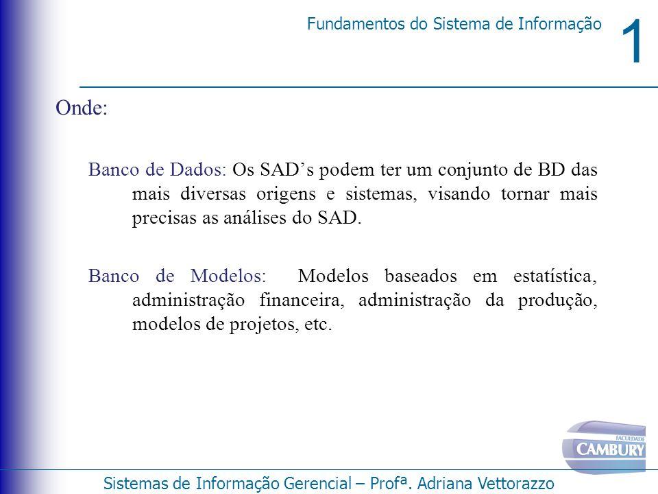 Onde: Banco de Dados: Os SAD's podem ter um conjunto de BD das mais diversas origens e sistemas, visando tornar mais precisas as análises do SAD.