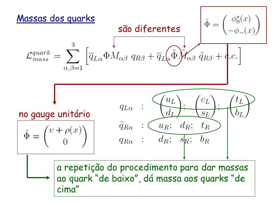 Massas dos quarks são diferentes. o 1ero termo tem a mesma forma que o termo de massa para os leptons.