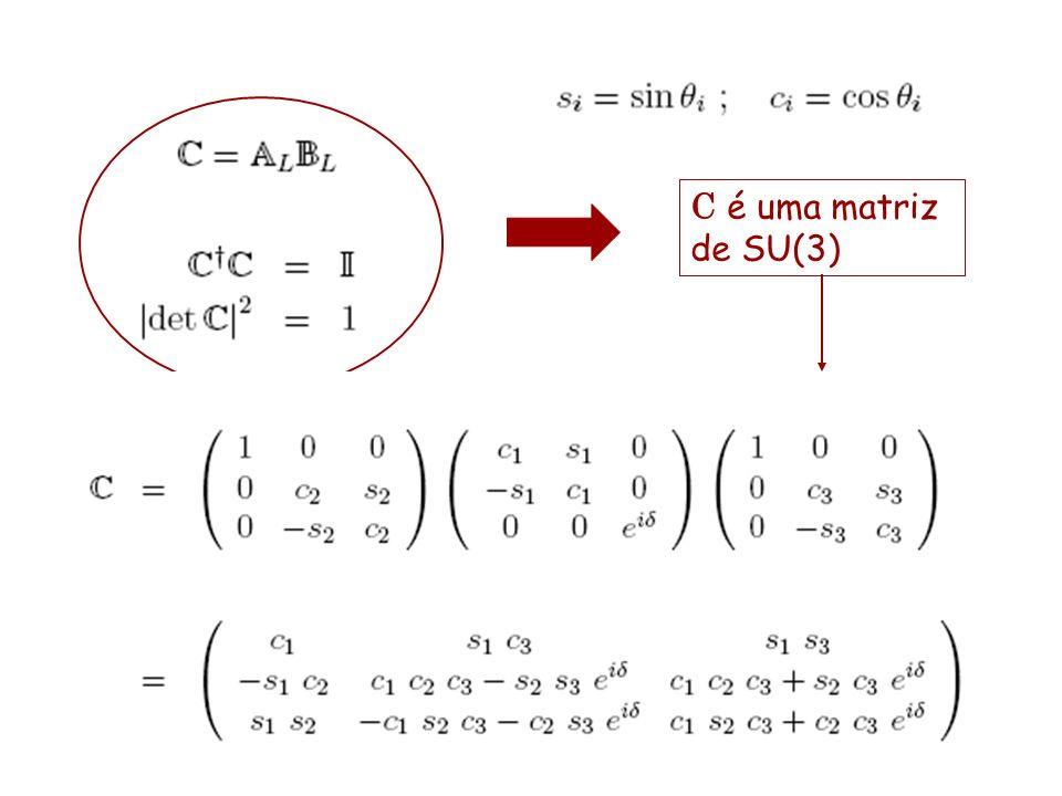 C é uma matriz de SU(3) pode ser parametrizada em função de três ângulos e uma fase complexa