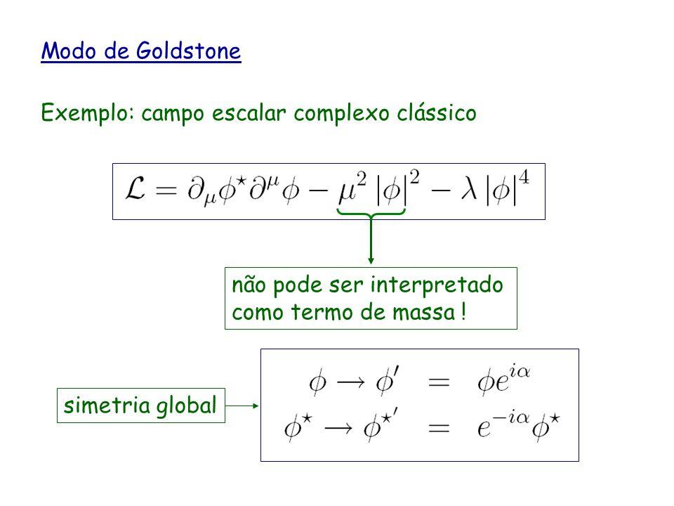 Modo de Goldstone Exemplo: campo escalar complexo clássico. não pode ser interpretado como termo de massa !