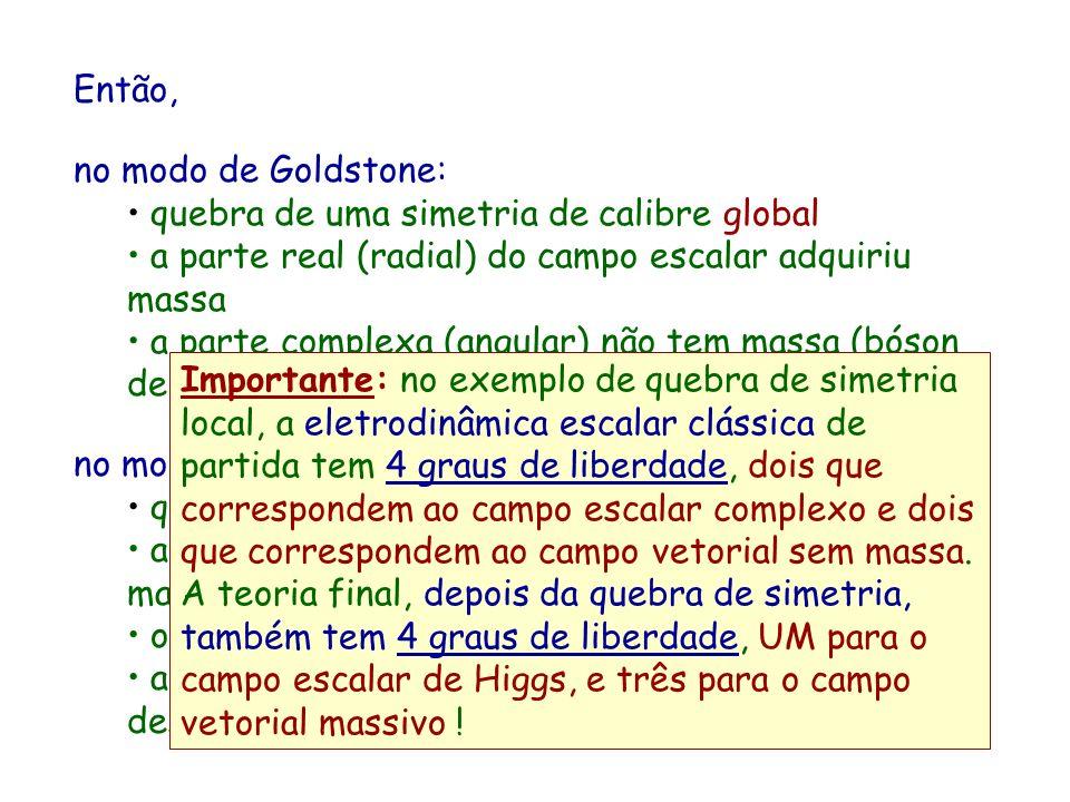Então, no modo de Goldstone: quebra de uma simetria de calibre global. a parte real (radial) do campo escalar adquiriu massa.
