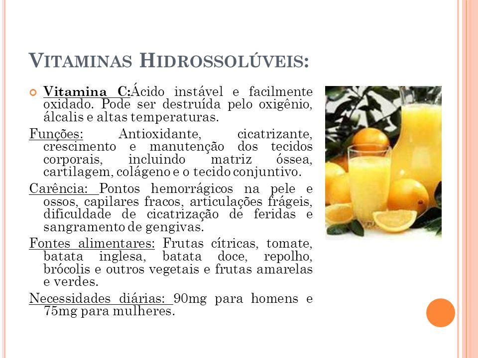 Vitaminas Hidrossolúveis: