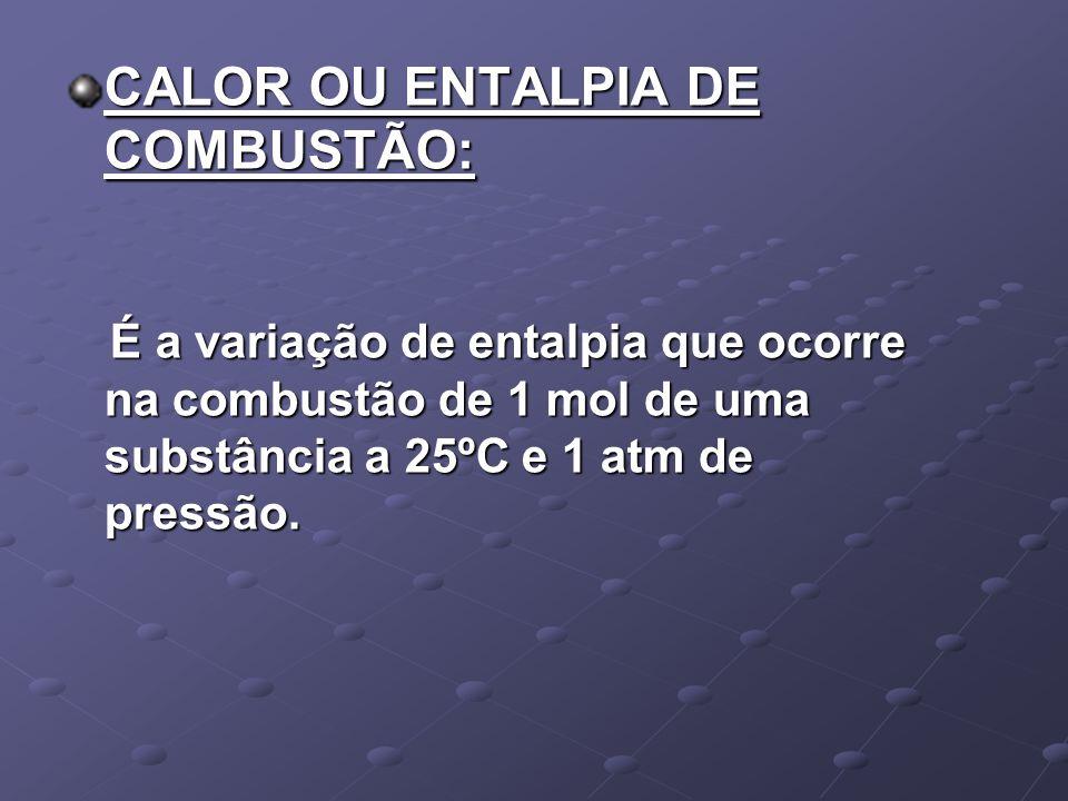 CALOR OU ENTALPIA DE COMBUSTÃO: