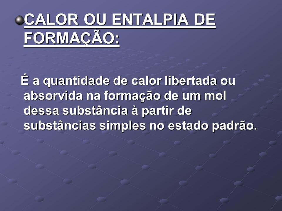 CALOR OU ENTALPIA DE FORMAÇÃO: