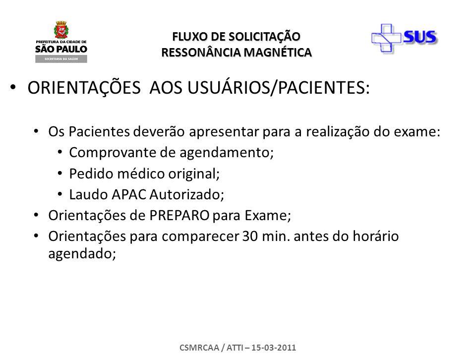 ORIENTAÇÕES AOS USUÁRIOS/PACIENTES: