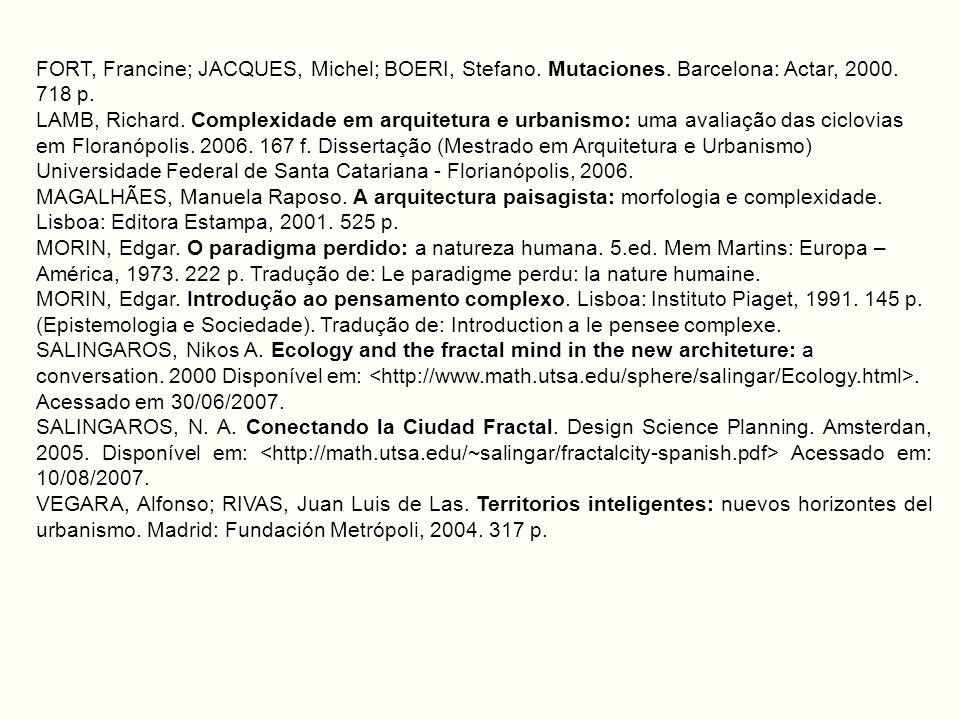 FORT, Francine; JACQUES, Michel; BOERI, Stefano. Mutaciones