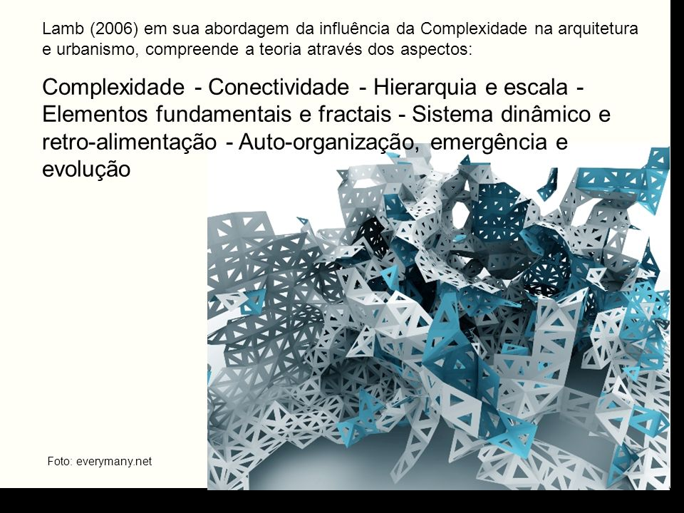 Lamb (2006) em sua abordagem da influência da Complexidade na arquitetura e urbanismo, compreende a teoria através dos aspectos: