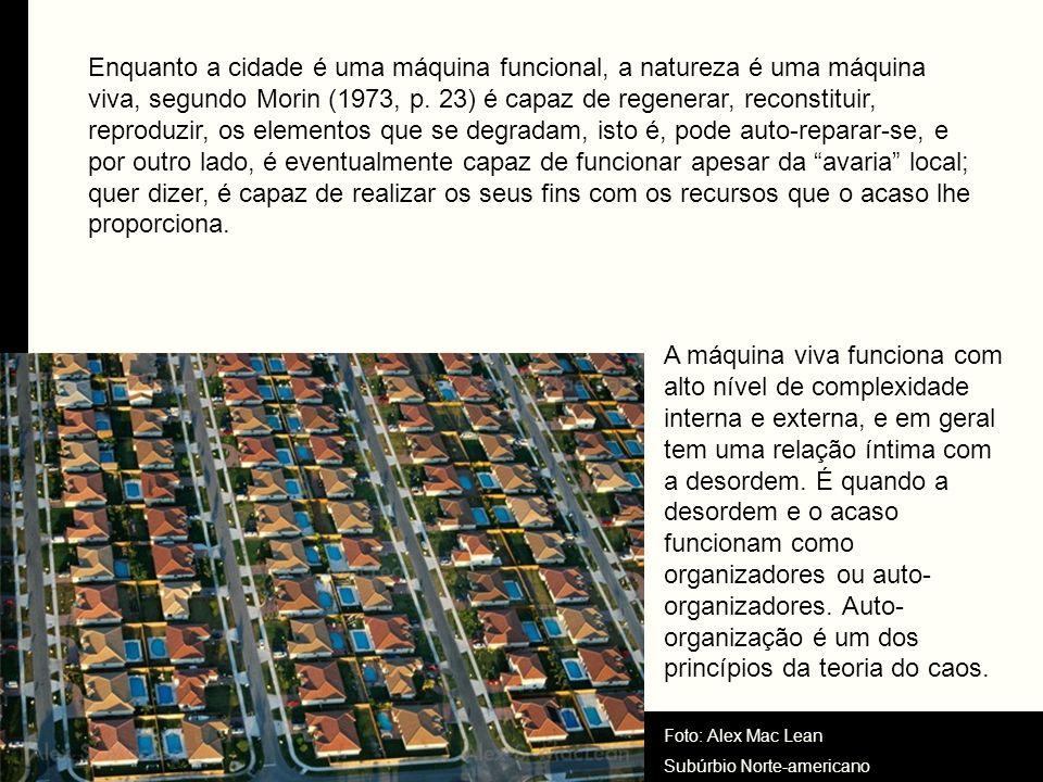 Enquanto a cidade é uma máquina funcional, a natureza é uma máquina viva, segundo Morin (1973, p. 23) é capaz de regenerar, reconstituir, reproduzir, os elementos que se degradam, isto é, pode auto-reparar-se, e por outro lado, é eventualmente capaz de funcionar apesar da avaria local; quer dizer, é capaz de realizar os seus fins com os recursos que o acaso lhe proporciona.