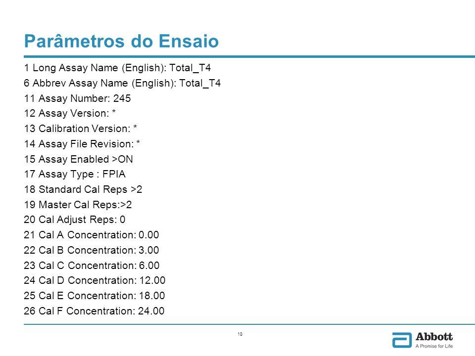 Parâmetros do Ensaio 27 Master Calibrator 1 Concentration: 0.00