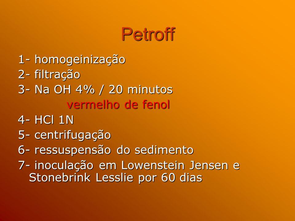 Petroff 1- homogeinização 2- filtração 3- Na OH 4% / 20 minutos