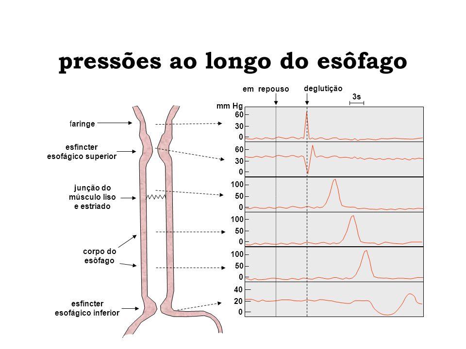 pressões ao longo do esôfago