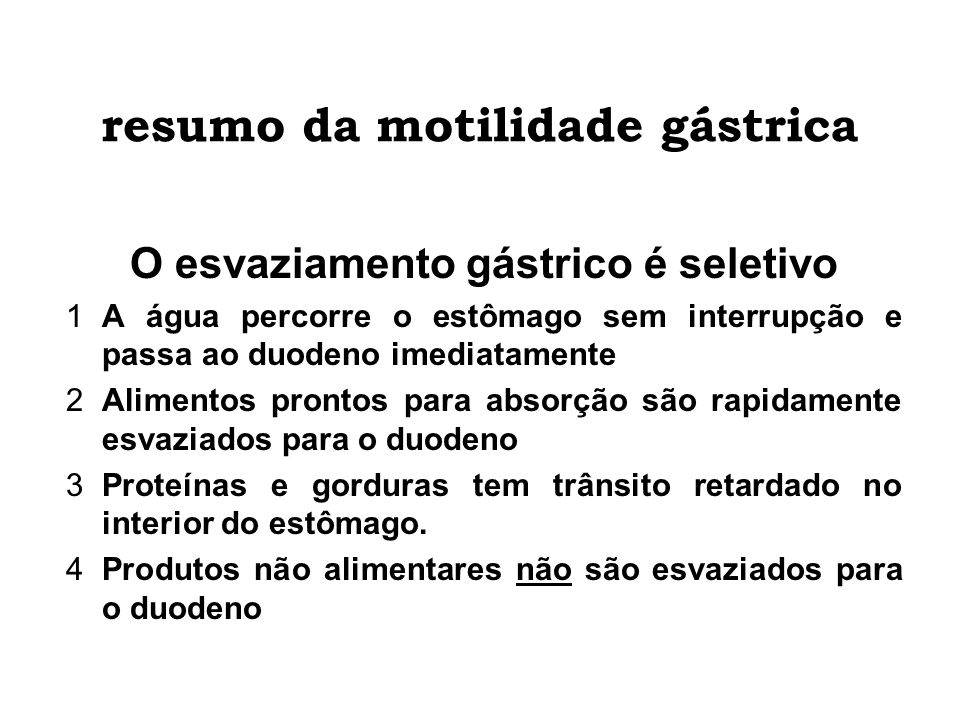 resumo da motilidade gástrica
