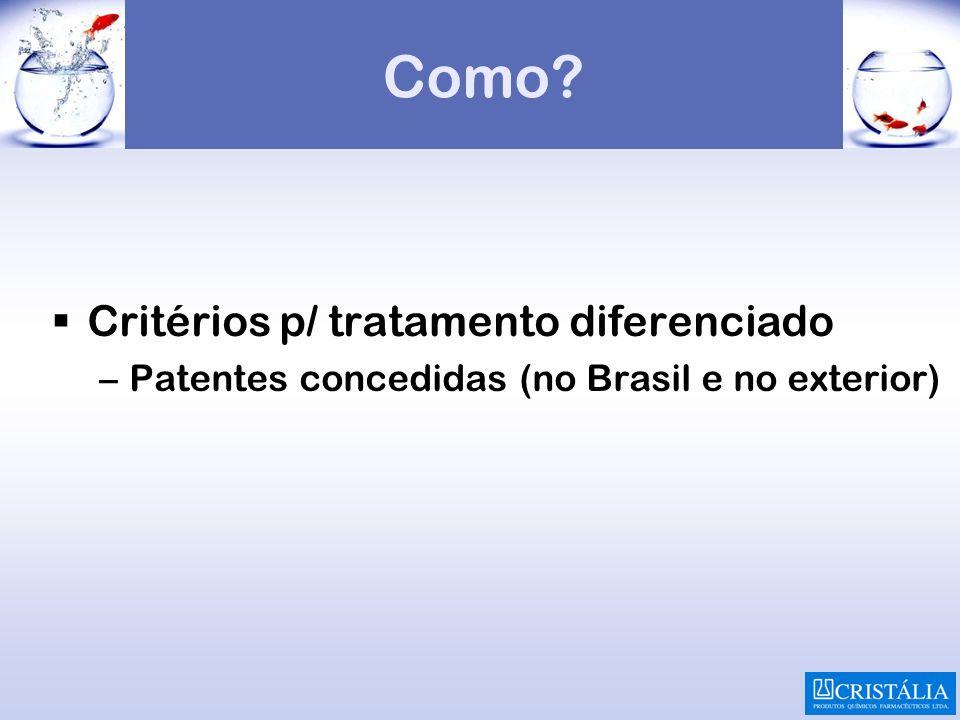 Como Critérios p/ tratamento diferenciado