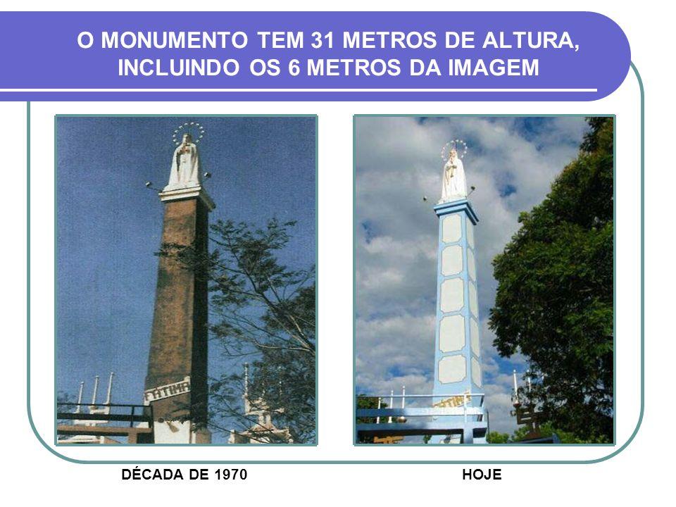 O MONUMENTO TEM 31 METROS DE ALTURA, INCLUINDO OS 6 METROS DA IMAGEM