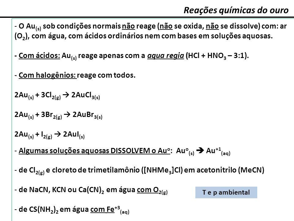 Reações químicas do ouro