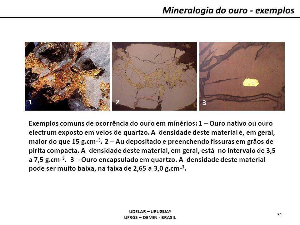 Mineralogia do ouro - exemplos
