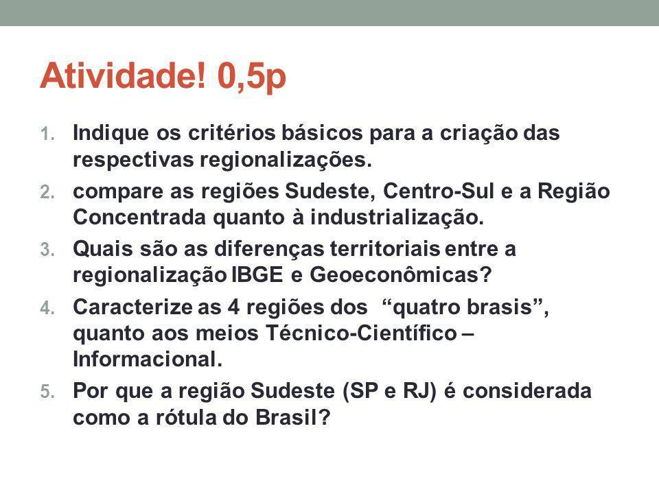 Atividade! 0,5p Indique os critérios básicos para a criação das respectivas regionalizações.