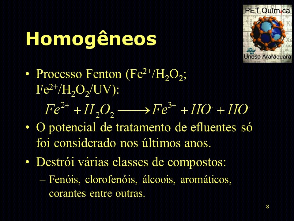 Homogêneos Processo Fenton (Fe2+/H2O2; Fe2+/H2O2/UV):
