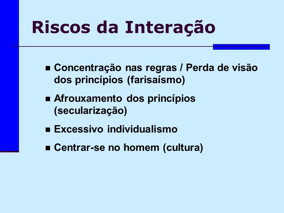 Riscos da Interação Concentração nas regras / Perda de visão dos princípios (farisaísmo) Afrouxamento dos princípios (secularização)