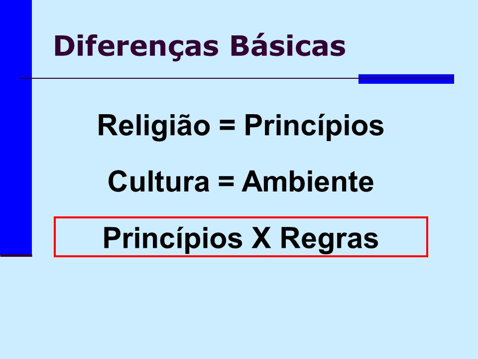 Religião = Princípios Cultura = Ambiente Princípios X Regras
