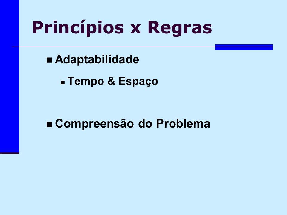 Princípios x Regras Adaptabilidade Compreensão do Problema