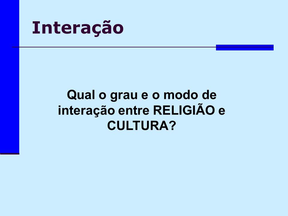 Qual o grau e o modo de interação entre RELIGIÃO e CULTURA