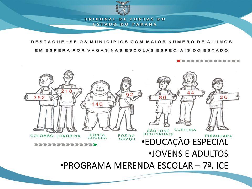 EDUCAÇÃO ESPECIAL JOVENS E ADULTOS PROGRAMA MERENDA ESCOLAR – 7ª. ICE