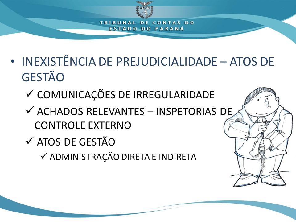 INEXISTÊNCIA DE PREJUDICIALIDADE – ATOS DE GESTÃO