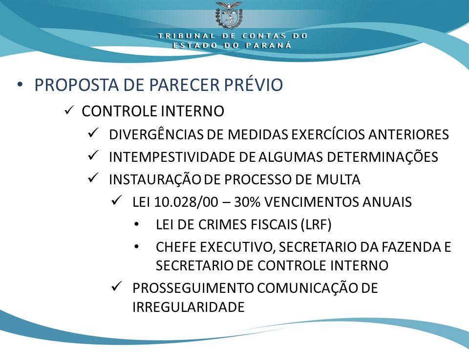 PROPOSTA DE PARECER PRÉVIO