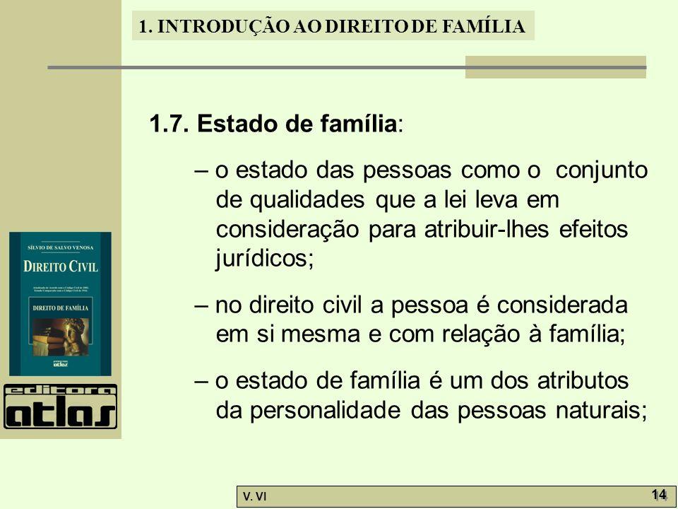 1.7. Estado de família: – o estado das pessoas como o conjunto de qualidades que a lei leva em consideração para atribuir-lhes efeitos jurídicos;