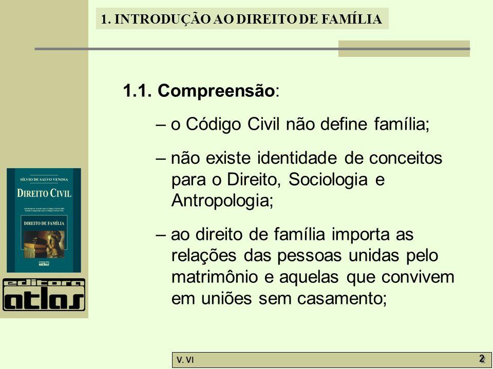1.1. Compreensão: – o Código Civil não define família; – não existe identidade de conceitos para o Direito, Sociologia e Antropologia;